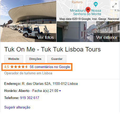 Sistema de classificacao de estrelas Google My Business